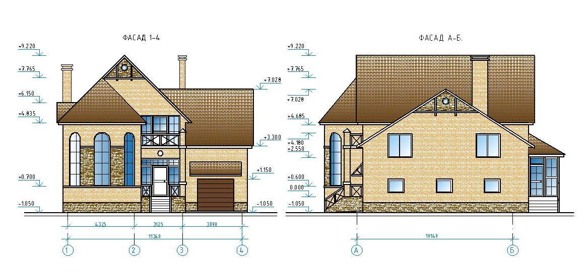Проект жилого дома с гаражом.