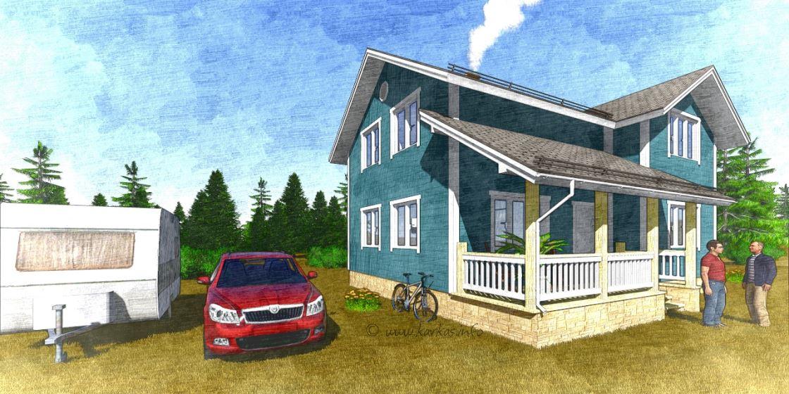 Каркасный дом с верандой