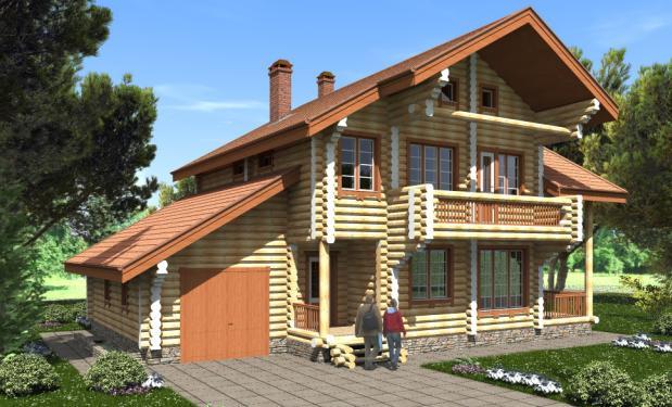 Бревенчатый дом с мансардой
