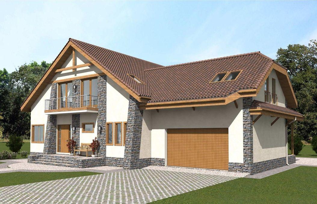 Дом с мансардой и гаражом